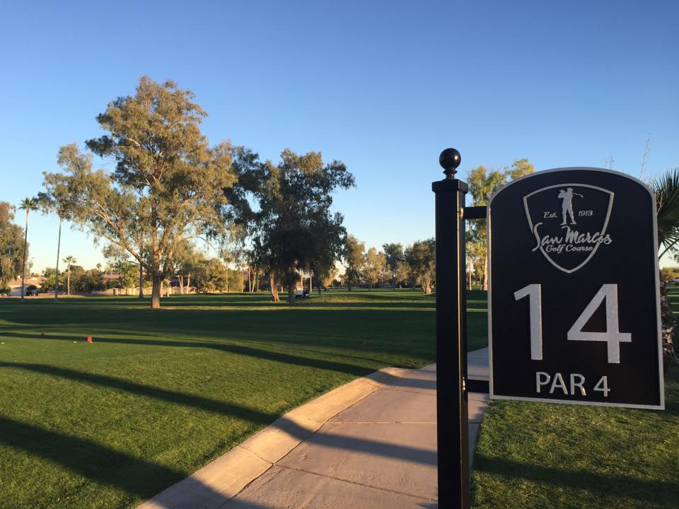 The 14th hole at San Marcos Golf Resort in Chandler, Arizona